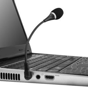 POWERTECH εύκαμπτο μικρόφωνο CAB-J042, 3.5mm, μαύρο | Συνοδευτικά PC | elabstore.gr