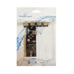 POWERTECH Κάρτα Επέκτασης PCI to USB 2.0, 4+1 ports, Chipset VIA6212 | PC & Αναβάθμιση | elabstore.gr