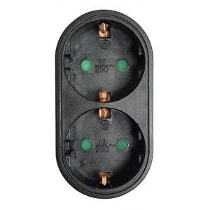 POWERTECH αντάπτορας ρεύματος PT-821, 2x schuko, 250V 16A, μαύρος | Τροφοδοσία Ρεύματος | elabstore.gr