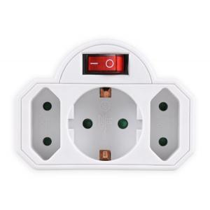 POWERTECH αντάπτορας ρεύματος PT-826, 1x schuko, 2x euro, 16A, λευκός | Τροφοδοσία Ρεύματος | elabstore.gr