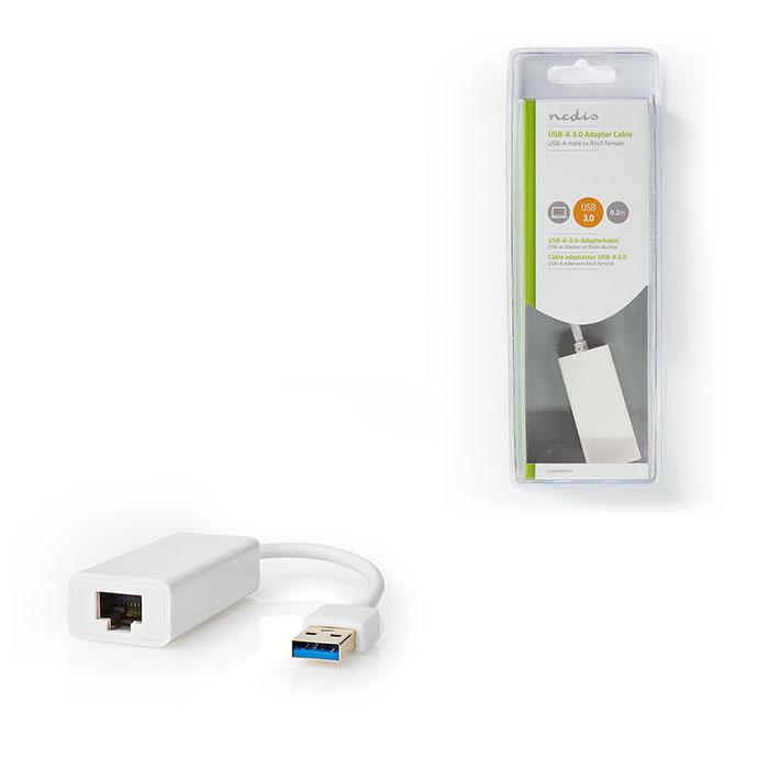 NEDIS CCGB61950WT02 USB 3.0-Adapter USB-A Male - RJ45 Female 1 Gbit 0,2 m White   ΔΙΚΤΥΑΚΑ   elabstore.gr