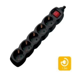 Πολύπριζα 5θ Με Διακόπτη 1,5M,3g1,5 μαύρο COM | Ηλεκτρολογικά | elabstore.gr